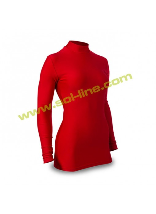 Womens Mock Neck Long Sleeve Red Compression Shirts a1180dee8e